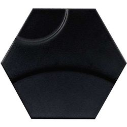Intuition black wave hexagon 29x25
